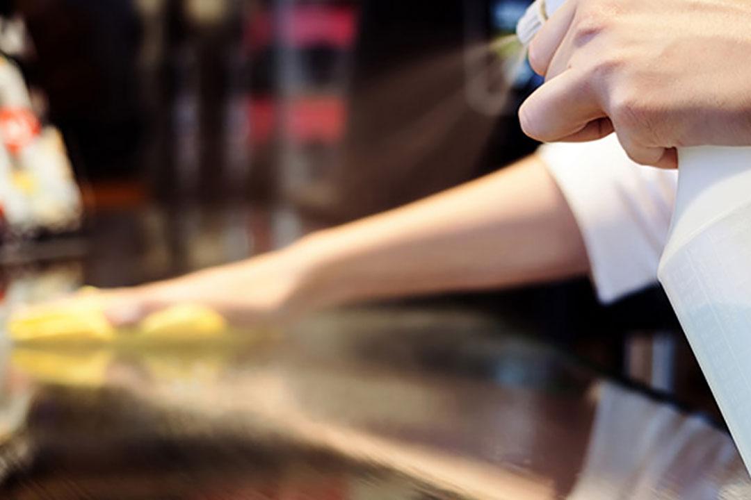 The use of surface sanitizing wipes