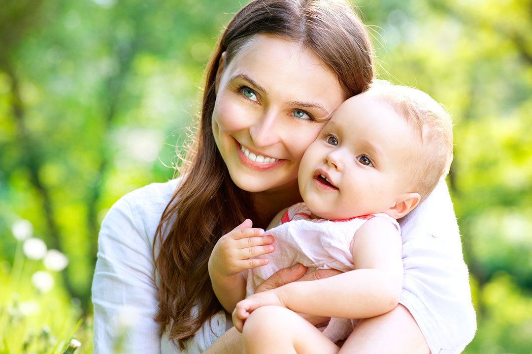 Mom and her cute baby