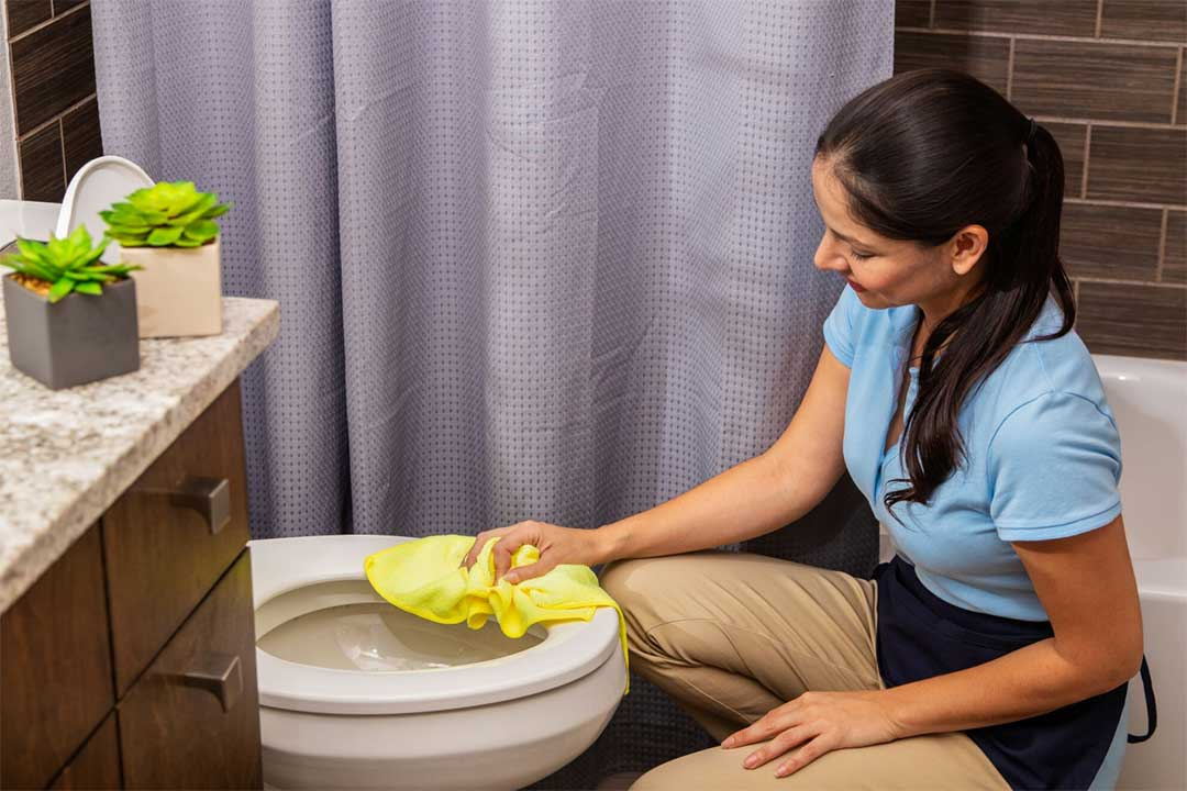 You can use bathroom cleaning wipes to wipe your toilet