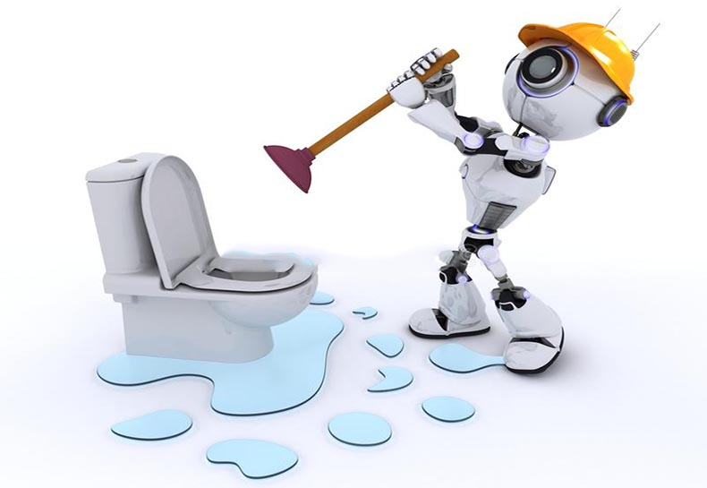 The robot is repairing the blocked toilet